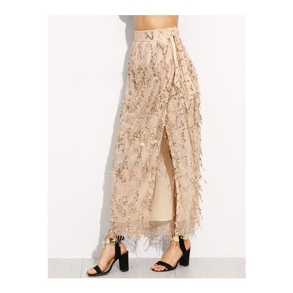 SheIn(sheinside) Gold Tie Bow Sequined High Split Skirt ($24 ...