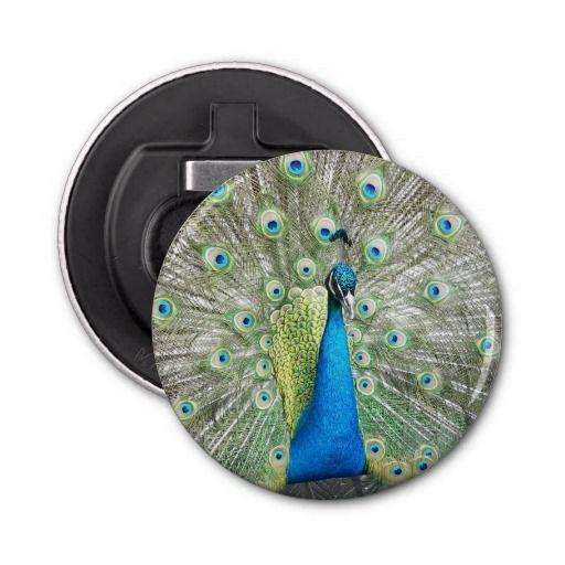 Peacock Plumage Button Bottle Opener #kitchenaids #kitchenhelpers #kitchentools #birds #peafowl #animals
