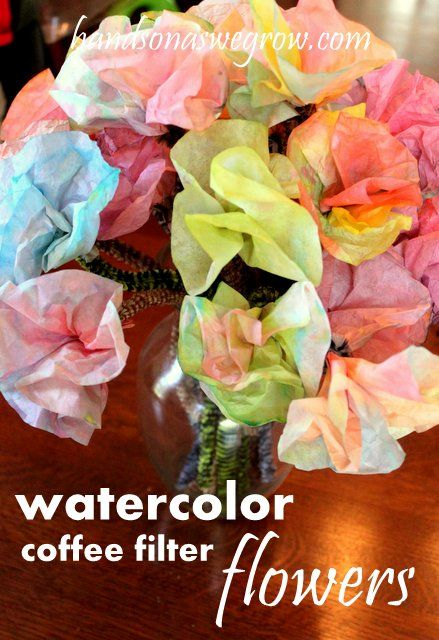 Watercolor coffee filter flowers: use watercolor paint or food color thinned with water to paint coffee filters. Fold and twist to make into flowers.