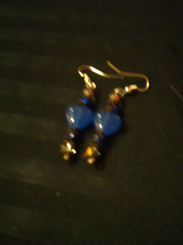 Elegant Blue Hearts Drop Earrings by SheilasJewels on Etsy