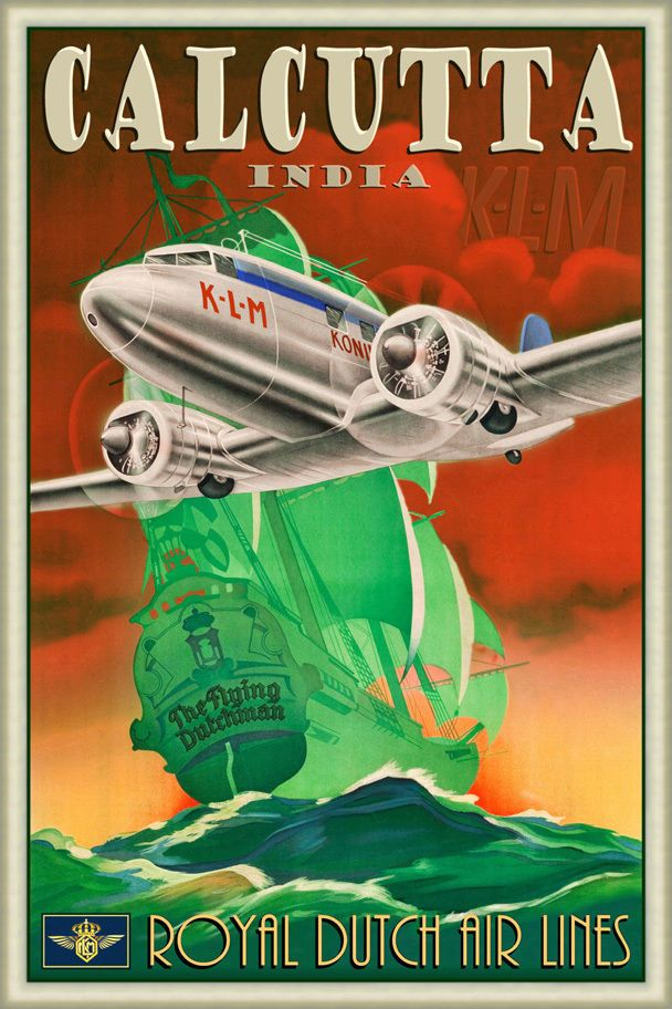 Details about Calcutta India Retro Airline Poster DC3