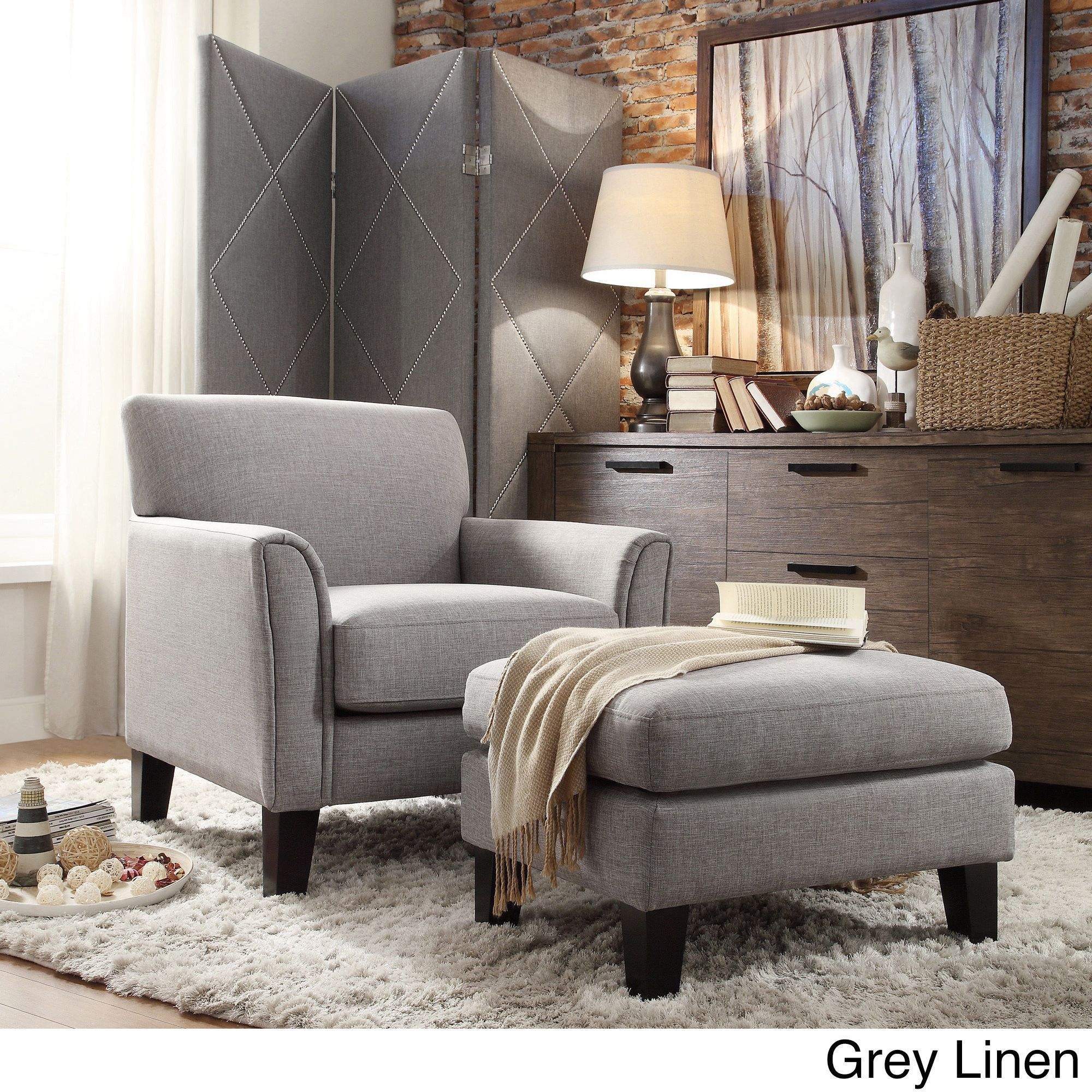 Best Tribecca Home Uptown Modern Accent Chair And Ottoman Gray 400 x 300