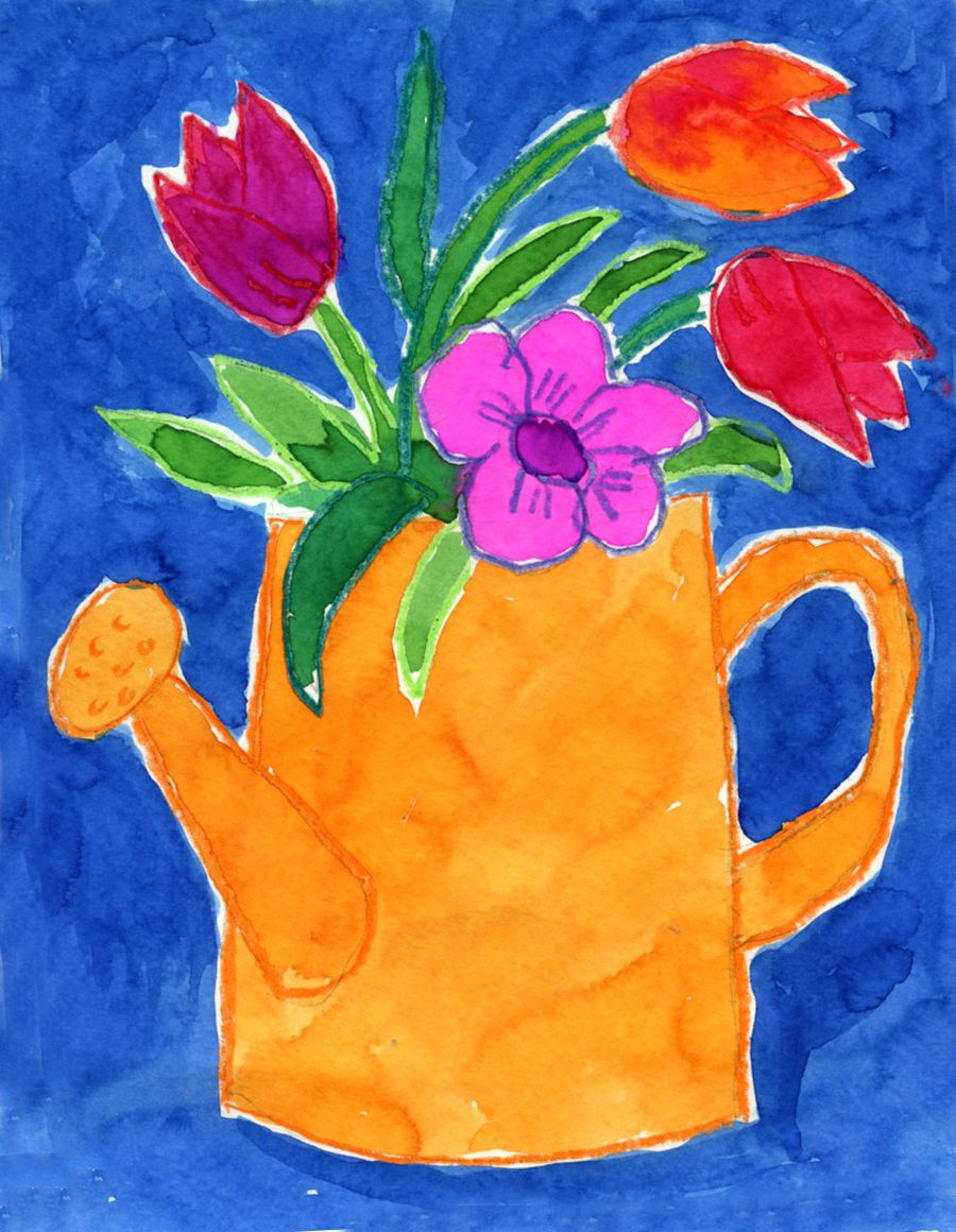 Art projects for kids watering can flowers painting for Canvas art ideas for kids