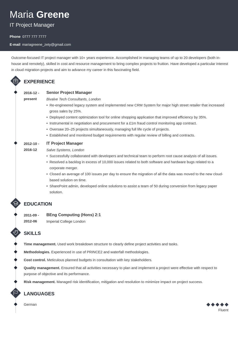 uk project manager cv example template diamond in 2020