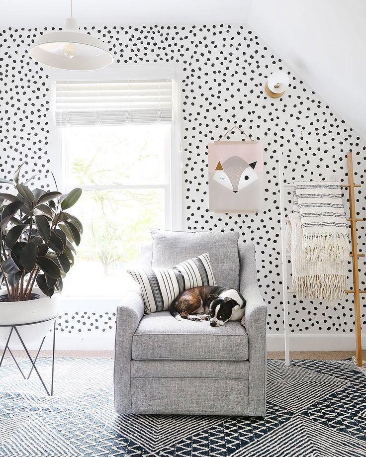Polka dot wallpaper Kid room decor, Unisex kids room