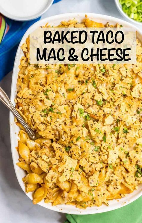 Baked taco mac and cheese casserole #tacomacandcheese
