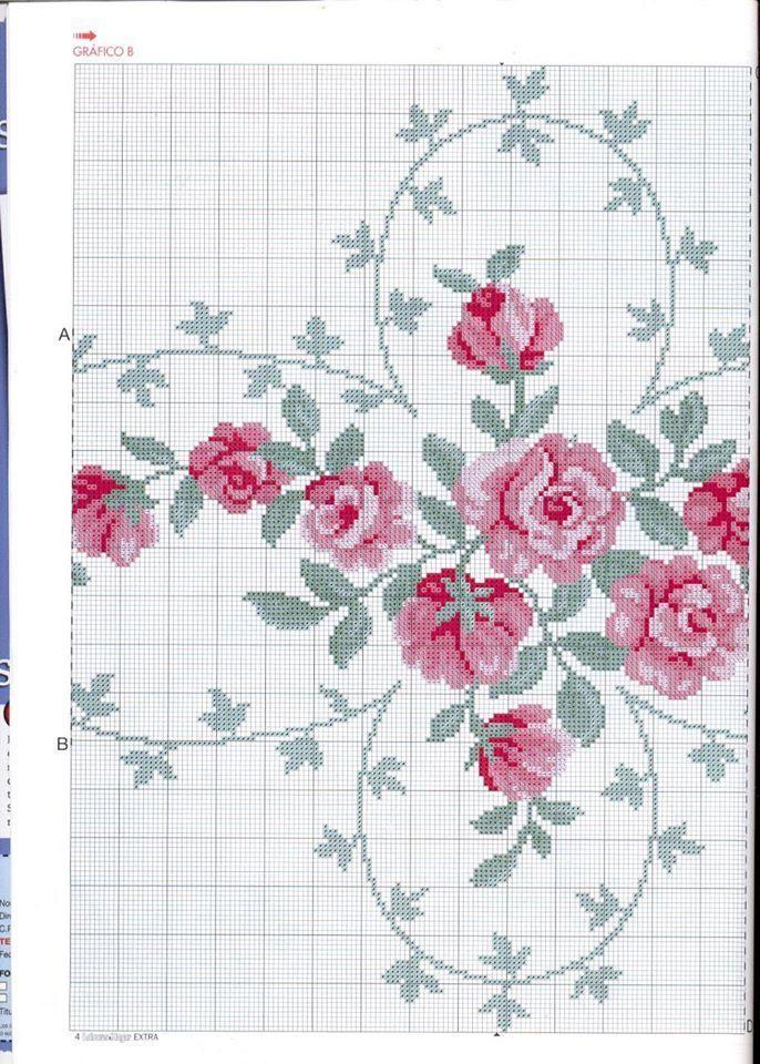 broderie | Rose en point de croix, Fleurs au point de croix, Croix en crochet
