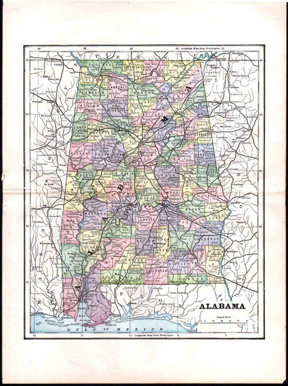 Alabama Map, 1897 Antique US State Map, Detailed Cities ...