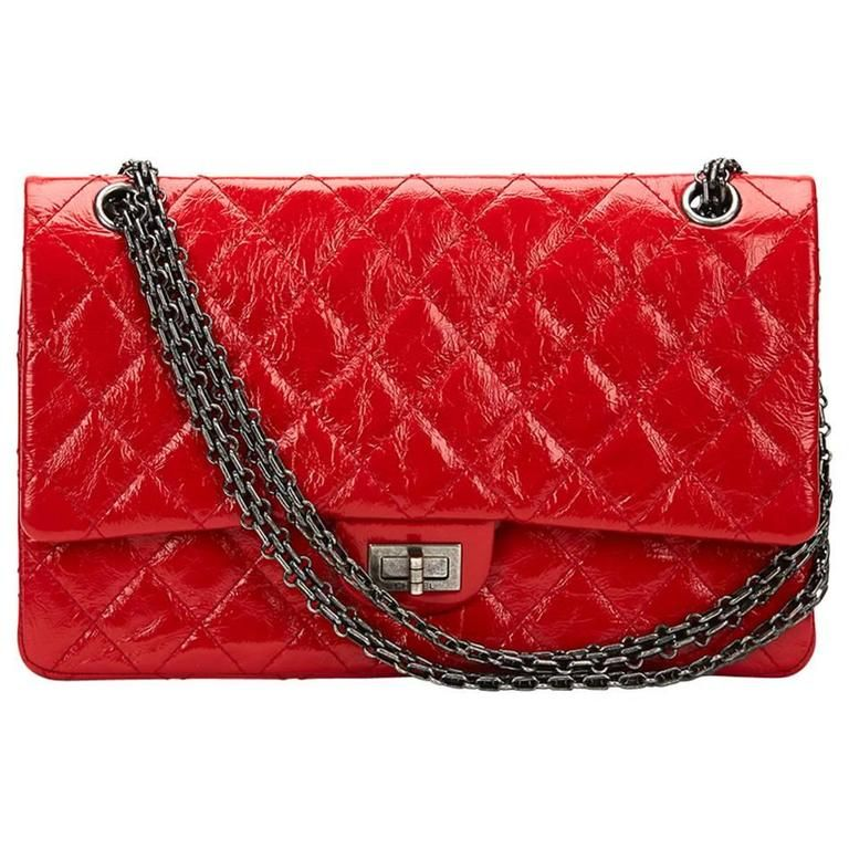 fd29a7bf41f22b 2015 Chanel Red Aged Patent Leather 2.55 Reissue 226 Double Flap Bag ...