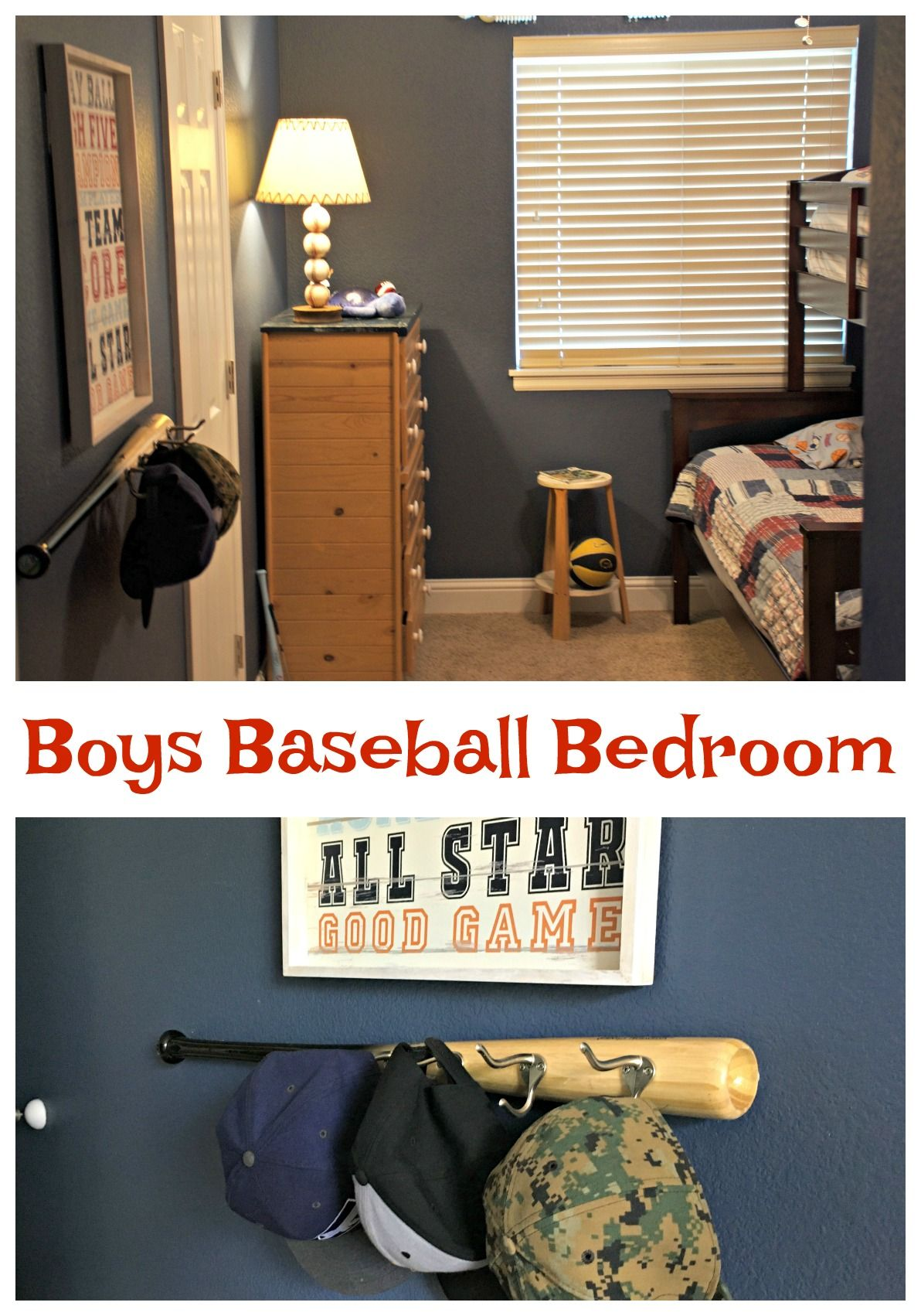 Baseball Bedroom For Boys With DIY Cap Hat Holder Made Recycled Bat Kids Via