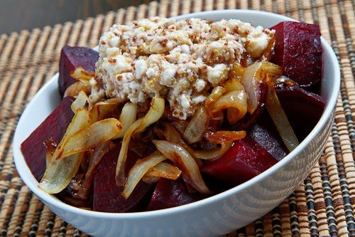 Roasted Beets With Caramelized Onions & Feta