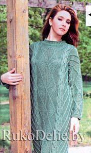 Вязаное платье с длинным рукавом схемы