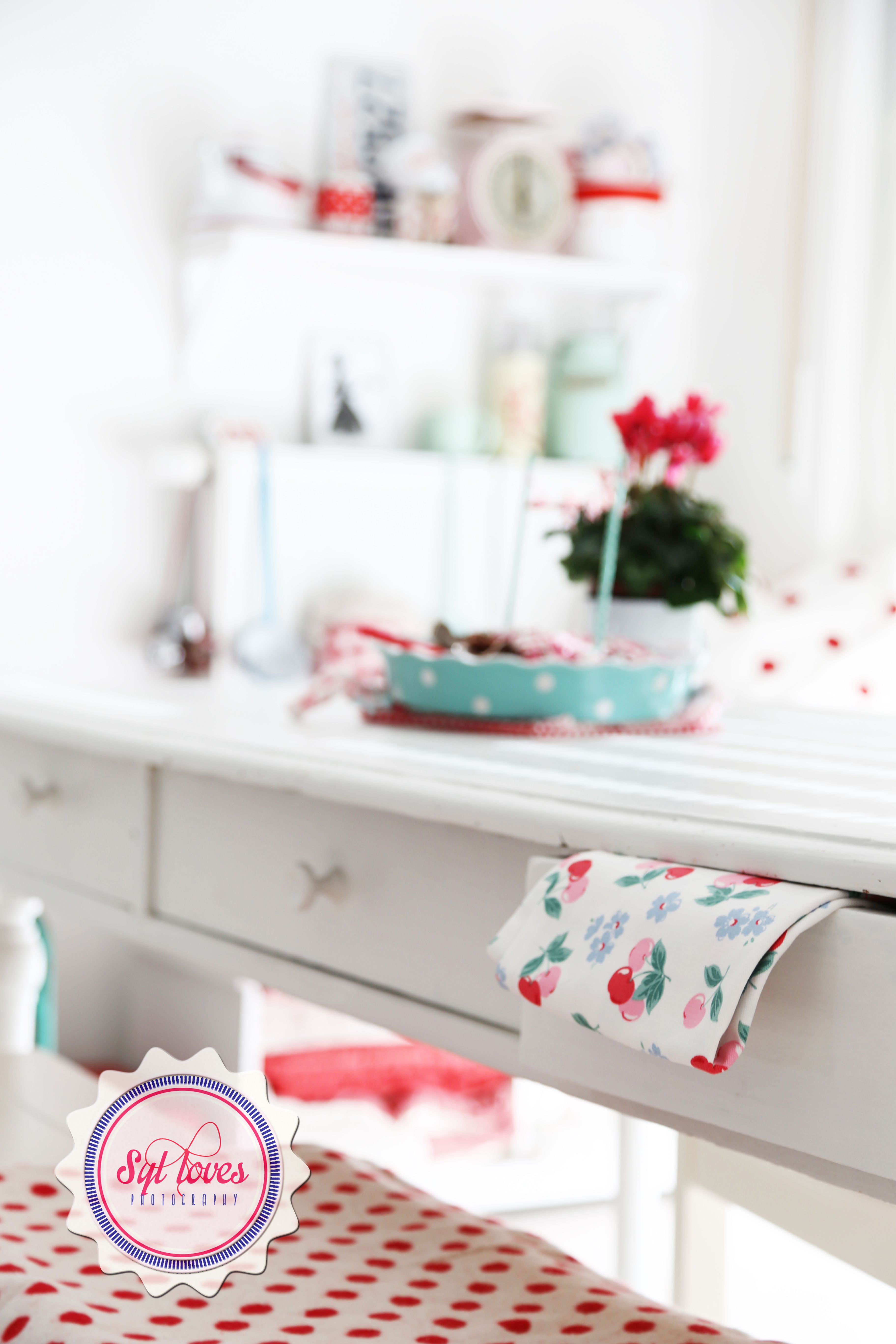 Syl loves, kitchen, GreenGate, pastel, red, white, vintage table ...