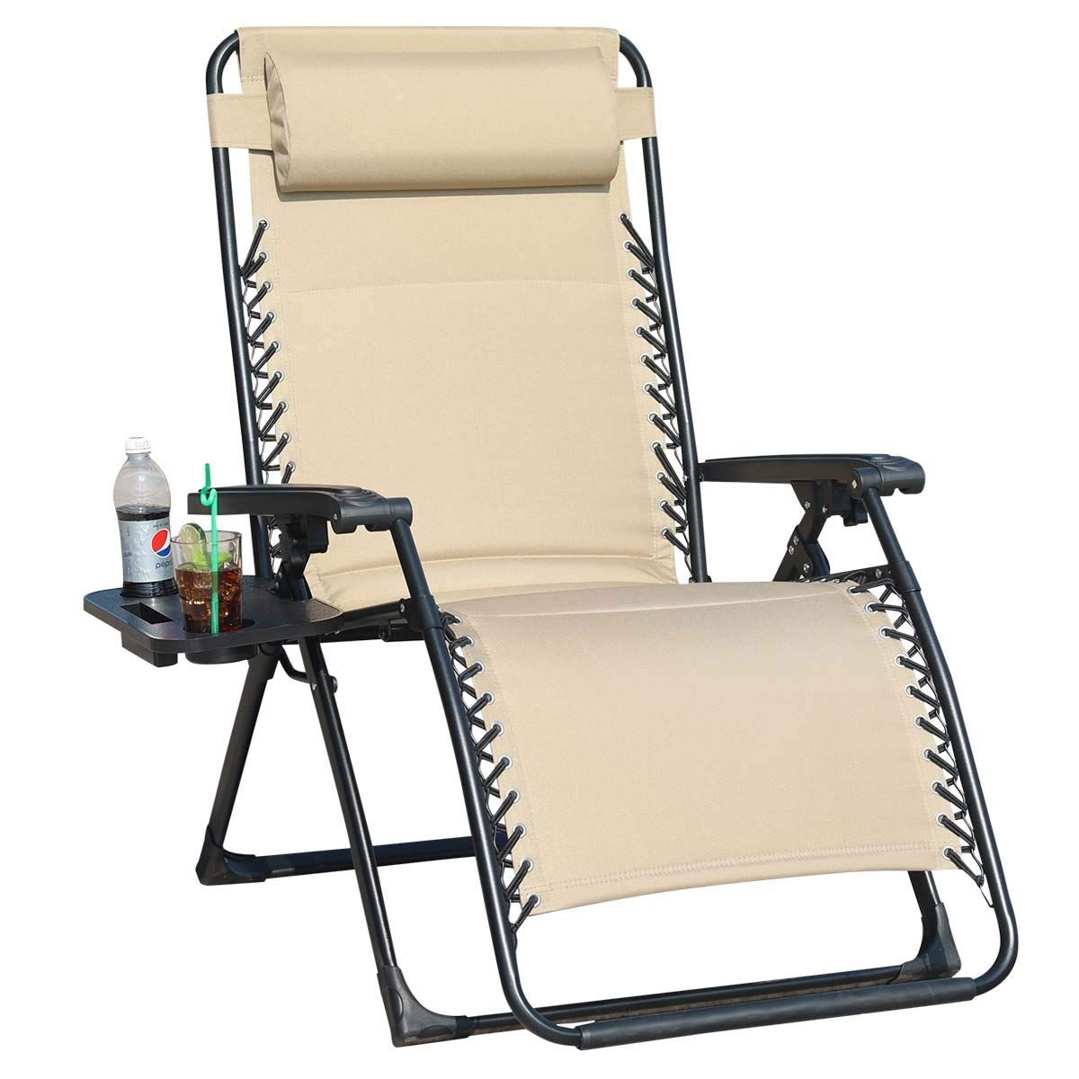 Goldsun Oversize Padded Zero Gravity Patio Lounge Chair Adjustable Recliner With Side Table Support 350lbsbeige Patio Lounge Patio Lounge Chairs Patio Chairs