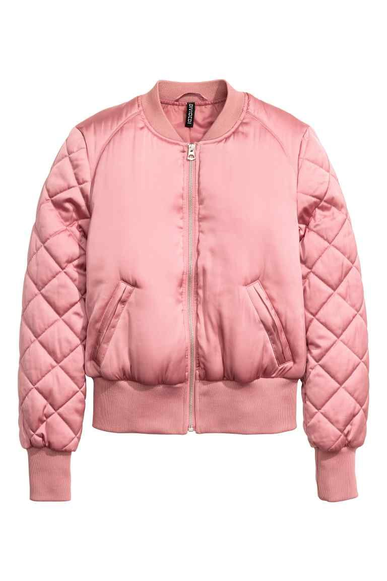 Bomber jacket: Padded bomber jacket in a satin weave with a zip at the front, fake side pockets, ribbing with a slight sheen at the neckline, cuffs and hem and quilted sleeves. Lined.