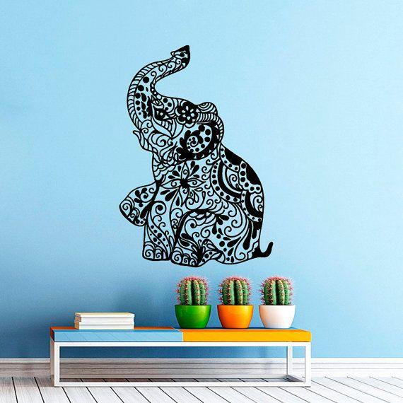 Pared calcoman as elefante indio patr n yoga etiqueta por for Calcomanias pared