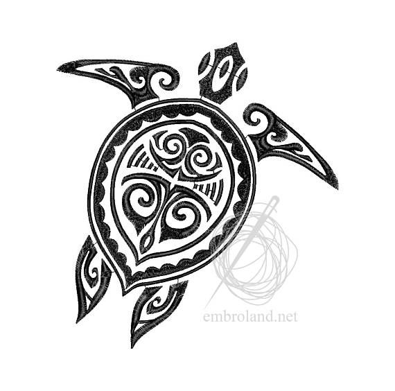 Turtle Tattoo Machine Embroidery Design Instant Download