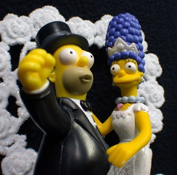homer and marge simpson wedding cake topper marge amp oo homer simpsons wedding cake topper by 15306