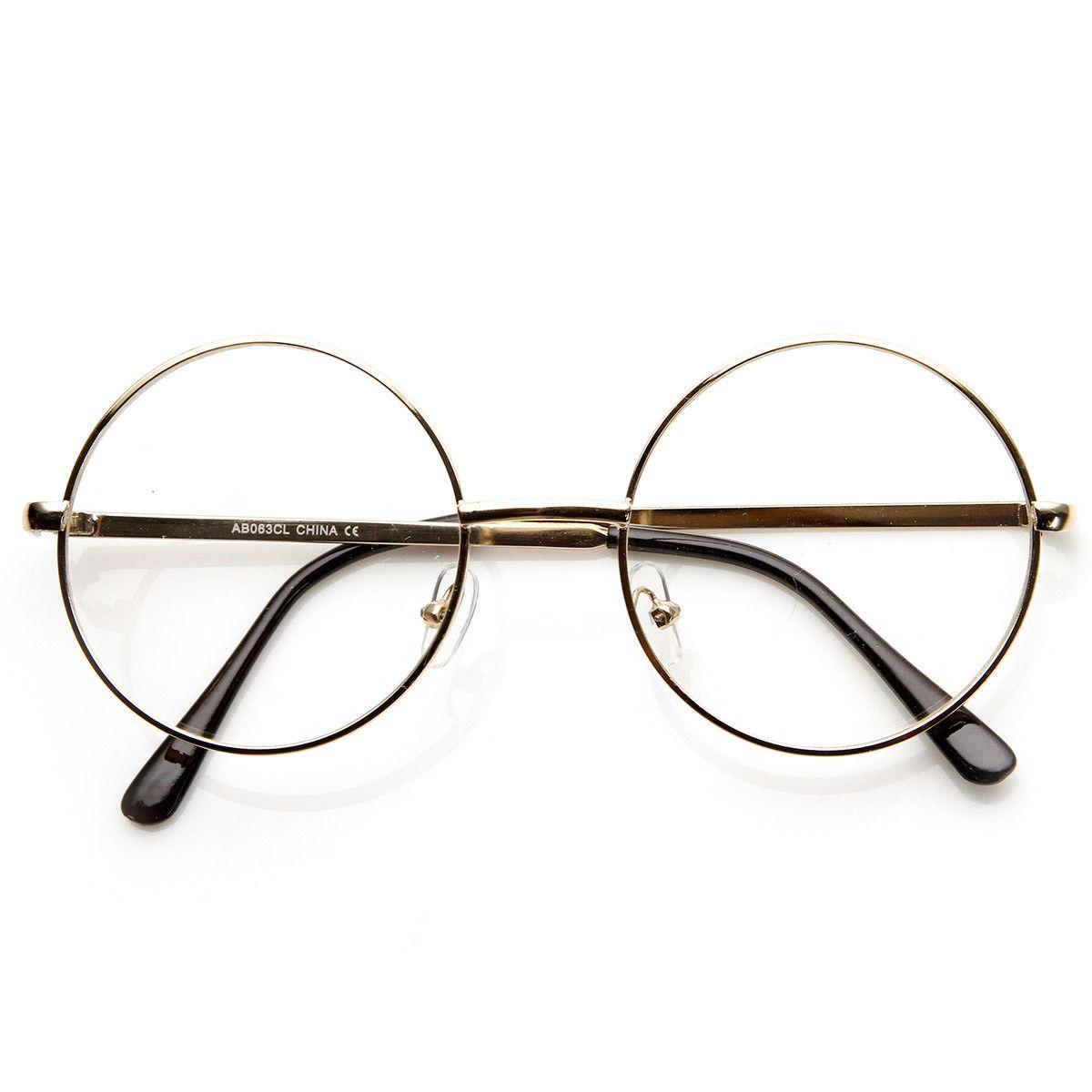 76671162ea Lennon Mid Size Full Metal Frame Clear Lens Round Glasses - sunglass.la - 1