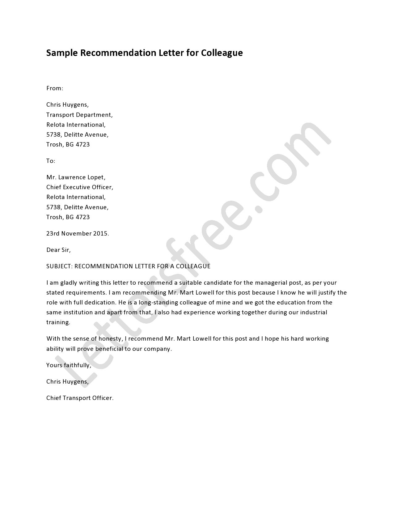 Recommendation Letter For Colleague    Reference Letter