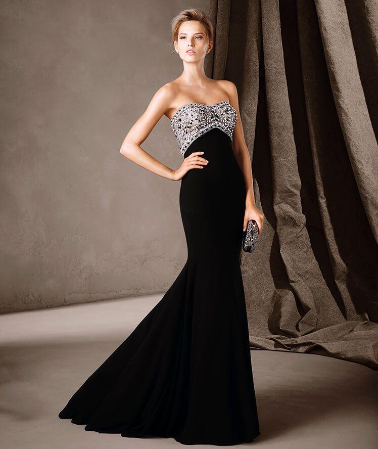 PRONOVIAS COLECCIÓN FIESTA 2017 Modelo CLAUDIA Maravilloso vestido de fiesta  largo de estilo evasé. Un modelo con falda de gerogette y espectacular  cuerpo ... 49859dd4888b