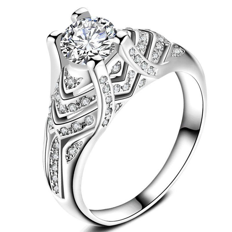 David kabel female silver white crystal engagement ring