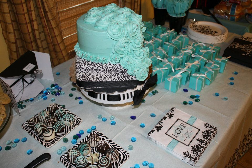 Dessert Table For Bridal Shower In Tiffany Blue, Black