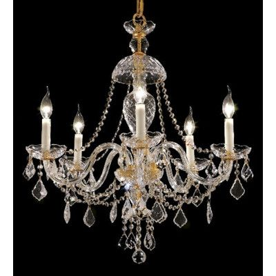Alexandria 5 Light Chandelier Finish / Crystal Color / Crystal Trim: Gold / Crystal (Clear) / Strass Swarovski $1848.00 by Wayfair