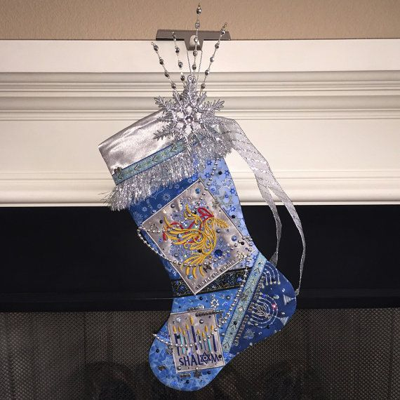 Hanukkah Christmas Stocking.Hanukkah Stocking A Custom Handmade One Of A Kind Jewish