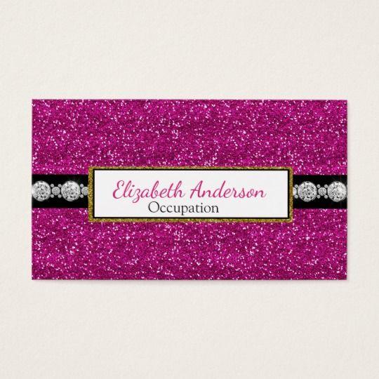 Ultra glam digital diamond pink glitter business cards customize businesscards https