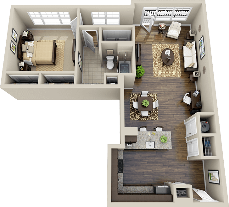 3dfloorplans. 2 Bedroom Apartment Floor Plan1 Bedroom House Plans3d ...