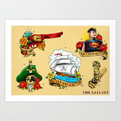 Goonies Tattoo Flash sheet Art Print by Phil Wall Art | Tatuaje ...