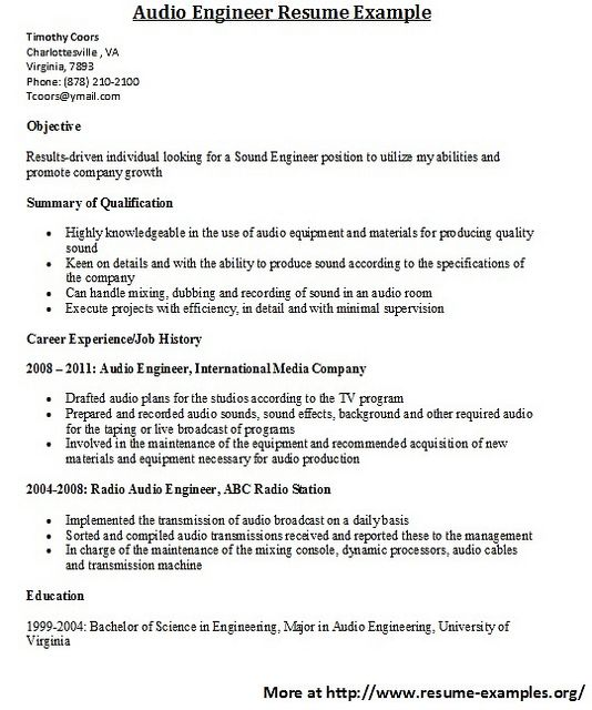 For more and various engineer resumes visit wwwresume-examplesorg