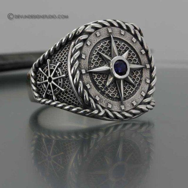 925er Sterling Silber Vegvisir Runen Futhark Wikinger Norse Odin Knoten Ring