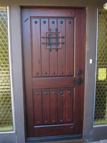 Main Door 36 In X 80 In Rustic Mahogany Type Right Hand Inswing Stained Distressed Speakeasy Solid Wood Prehung Front Door Sh 904 Ph Rh In 2020 Glass Front Door Front Door Entry Doors