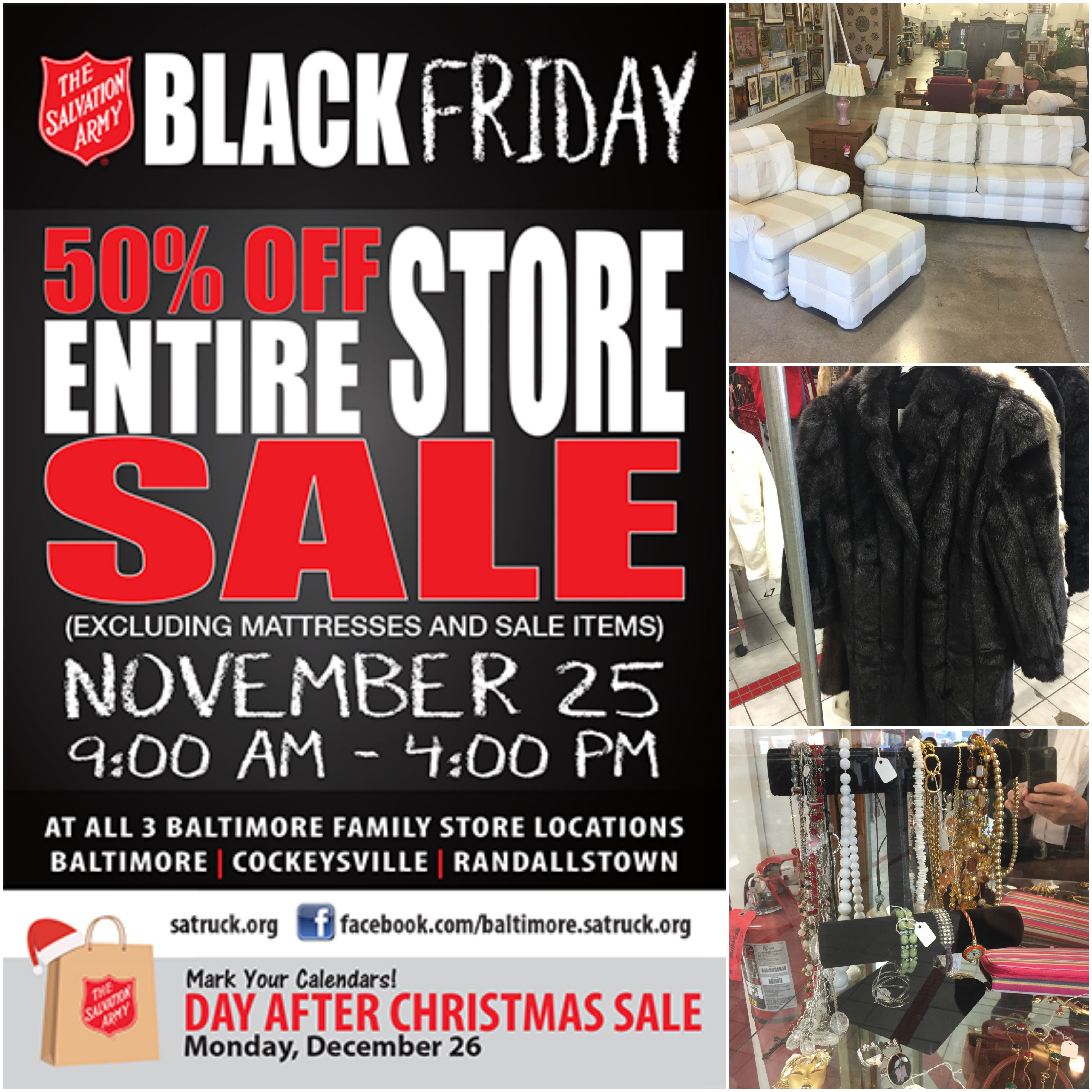 The Salvation Army Blackfriday Sale Is Going On Now Until 4 P M At All 3 Baltimore Family Stores Come In To See What You Will Salvation Army Army Salvation