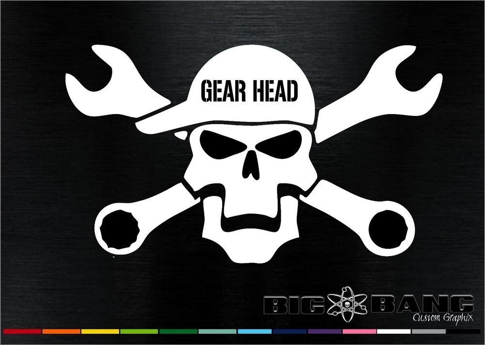 Funny gear head mechanic decal skull tools wrench window truck car sticker new