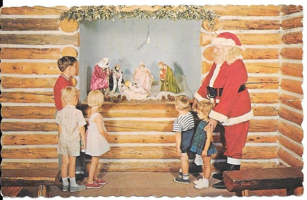 Christmas Postcard Santa Claus Nativity Colorado Chrome Posted Divided #1215 #Christmas