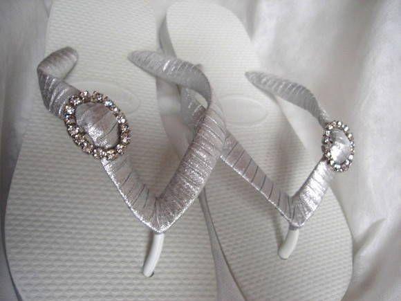 Chinelos Havaianas Bordadas Para Noiva Casamento Embalagem Com