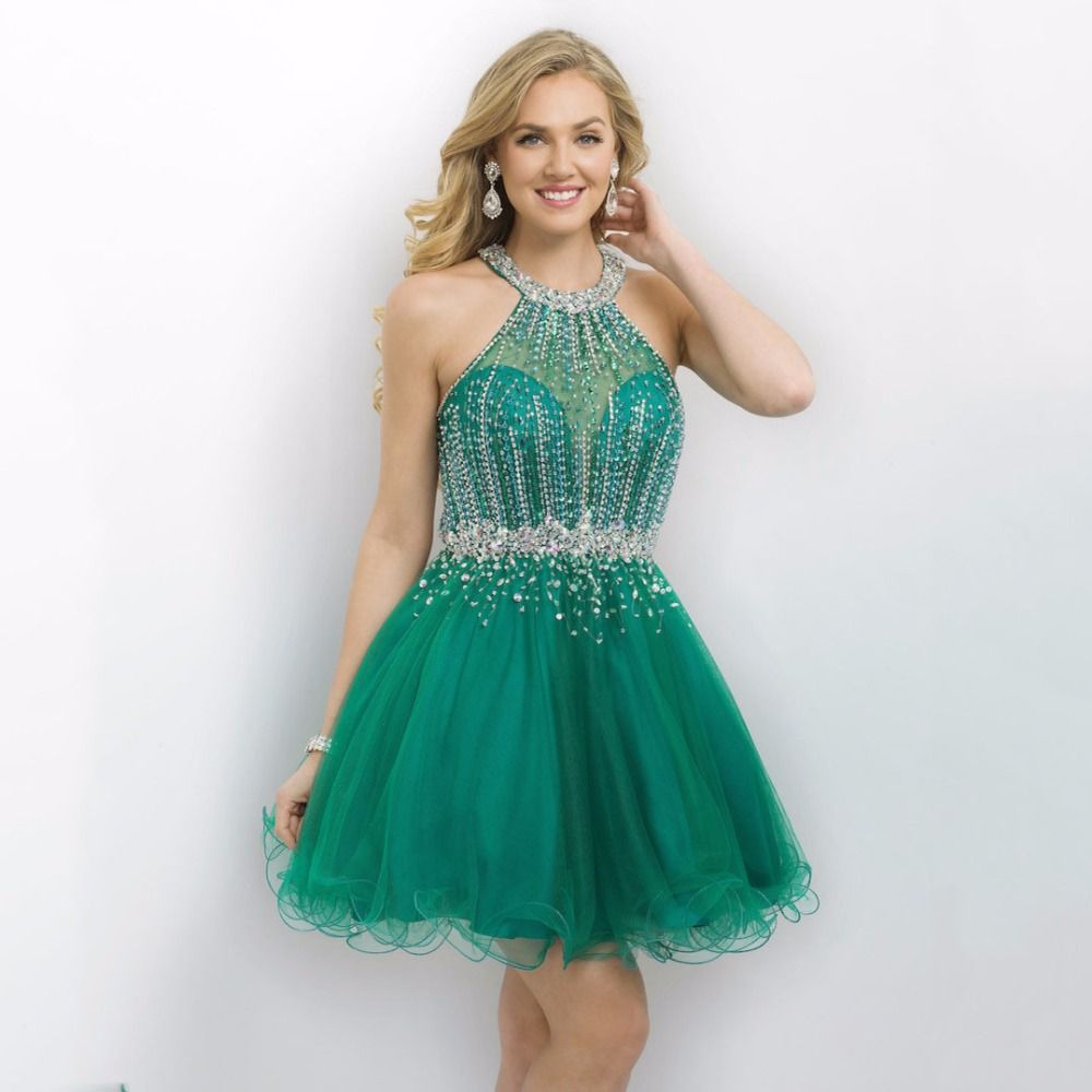 Free shipping green halter beaded tulle graduation dresses mini