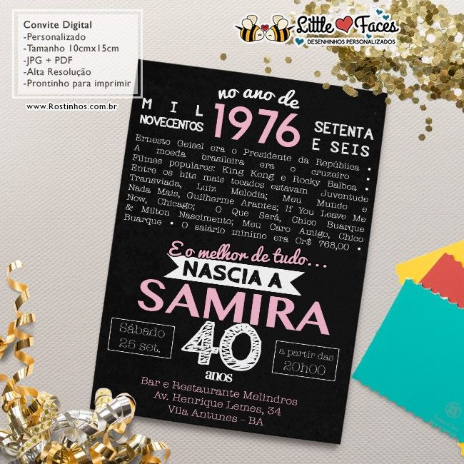 Convite Aniversário Fatos Marcantes Para Imprimir 40 Anos