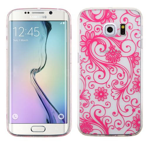 MYBATHot Pink four-leaf Clover Candy Skin Cover-G925 (Galaxy S6 Edge) Candy Skin Covers Regular Candy Skin Covers