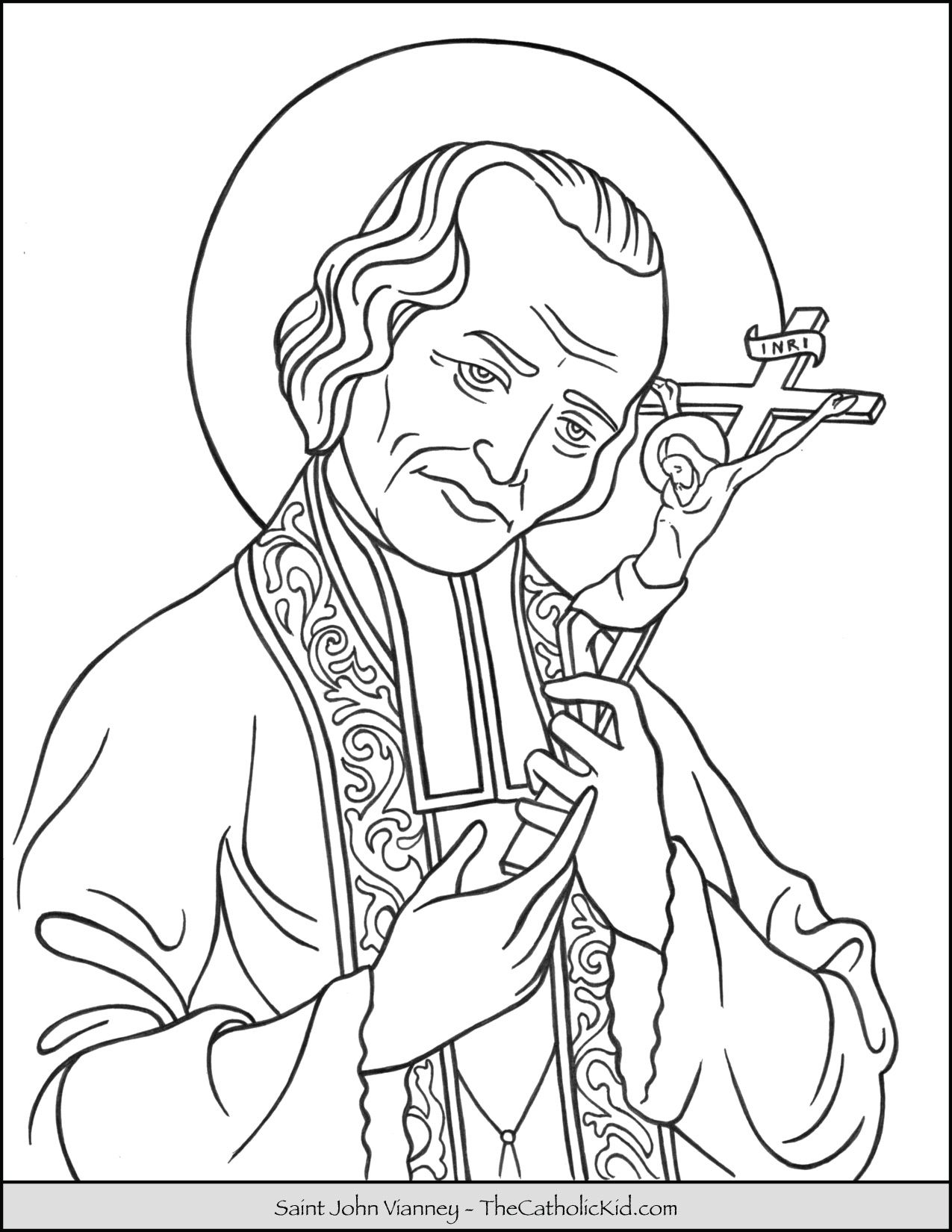 Saint John Vianney Coloring Page Thecatholickid Com With Images