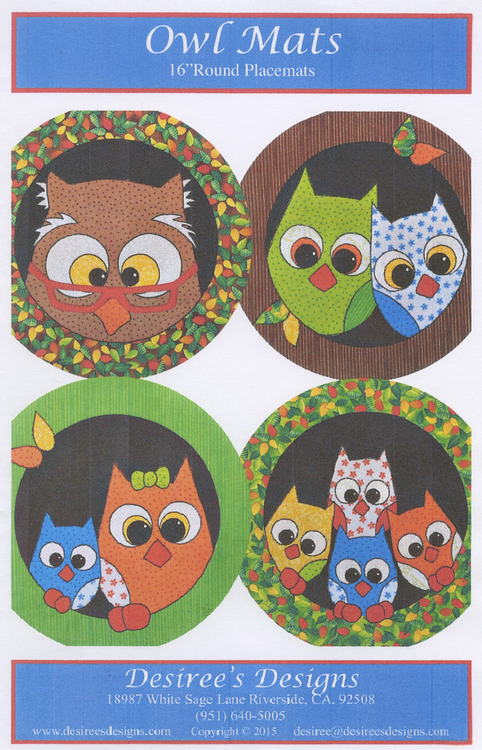 Owl Mats By Habicht, Desiree Quilt patterns, Owl sewing