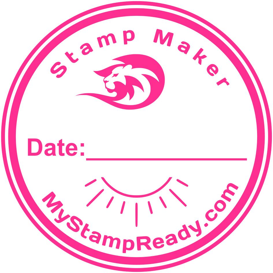 Stamp online in pink round form made by stamp maker