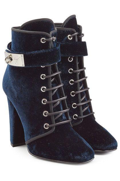 Ankle Boots Aus Samt Giuseppe Zanotti Blaue Stiefeletten Schnurstiefel Schnurstiefeletten