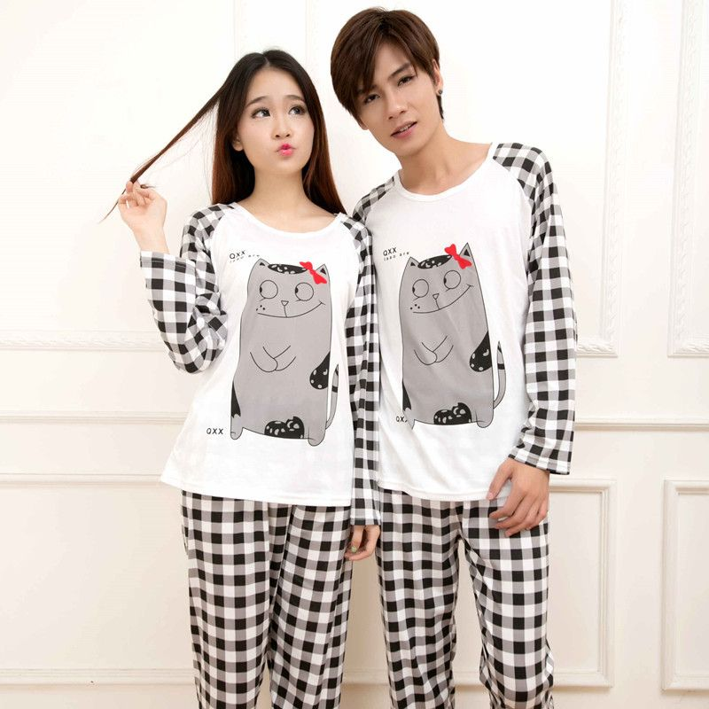 2017 Nouveau Couple Femelle Pyjama Ensemble O-cou À Manches Longues Totoro  Lady Mode De