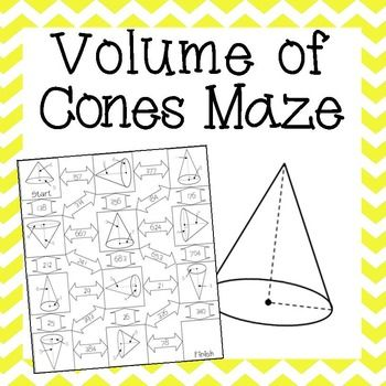 Volume Of Cones Maze With Images Junior High Math Math