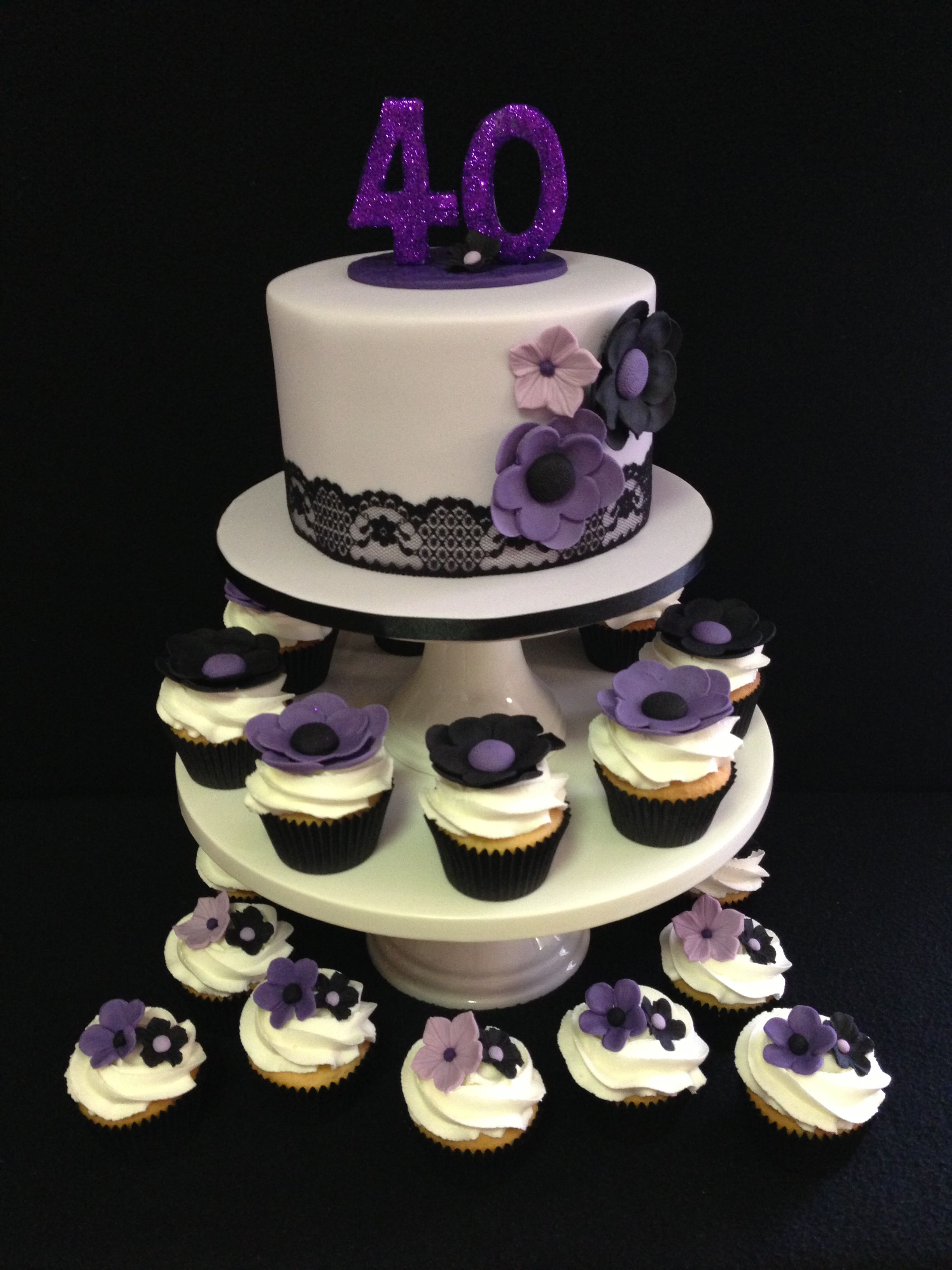 Phenomenal 40Th Birthday Cake And Cupcakes Color Combination Of Purple Lilac Personalised Birthday Cards Cominlily Jamesorg