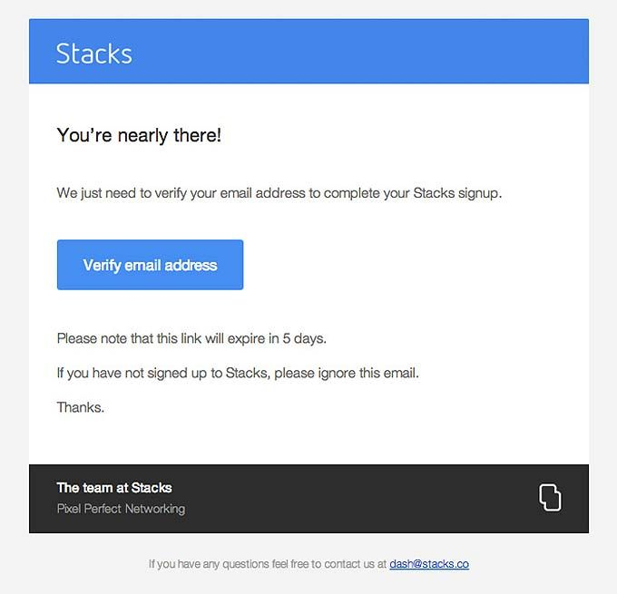 Account-Verification-Email-Design-from-Stacks | email | Pinterest ...